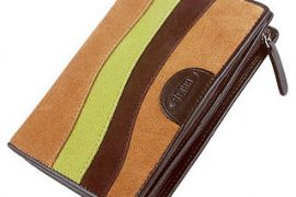 Bric's Margherita Cognac Patchwork Suede and Leather ID Wallet