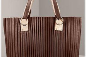 Armani Collezioni Plisse Leather Tote