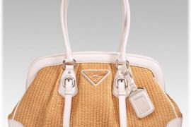 Prada Straw and Leather Frame Bag
