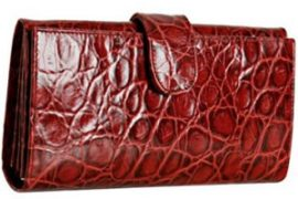 Furla Red Croc Stamped Leather Continental Wallet