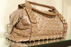 Be & D Garbo Satchel in Quince Lambskin/Light Brown/Nickel- $1,390