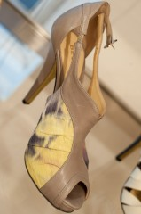 Be & D Catalina Pump in Floral Ikat Silk/Grey - $640