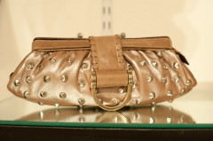 Be & D Greta Studded Clutch in Quince Lambskin/Light Brown/Nickel - $695