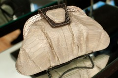 Be & D Capri Clutch in Pearl Python/Light Pewter Python - $995