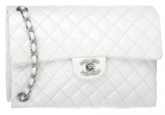 Chanel 2 Upsidedown Patent Leather White Bag