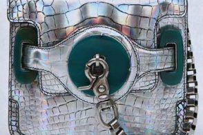 Balenciaga Metallic Crocodile Wristlet