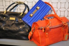 Black Taylor Bag, Blue Niki Clutch, Orange Mimi Bag