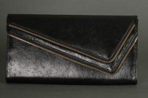 Glam Noir Leather Zip Clutch