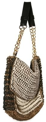 De Couture Woven Chain and Suede Shoulder Bag