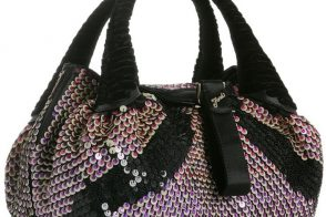 Fendi Violet Sequined Satin Small Spy Tote