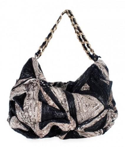 Zagliani Woven Python Art Shoulder Bag