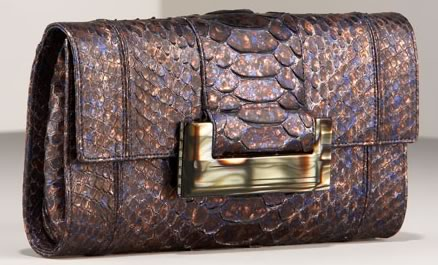 Judith Leiber Shimmering Python Clutch