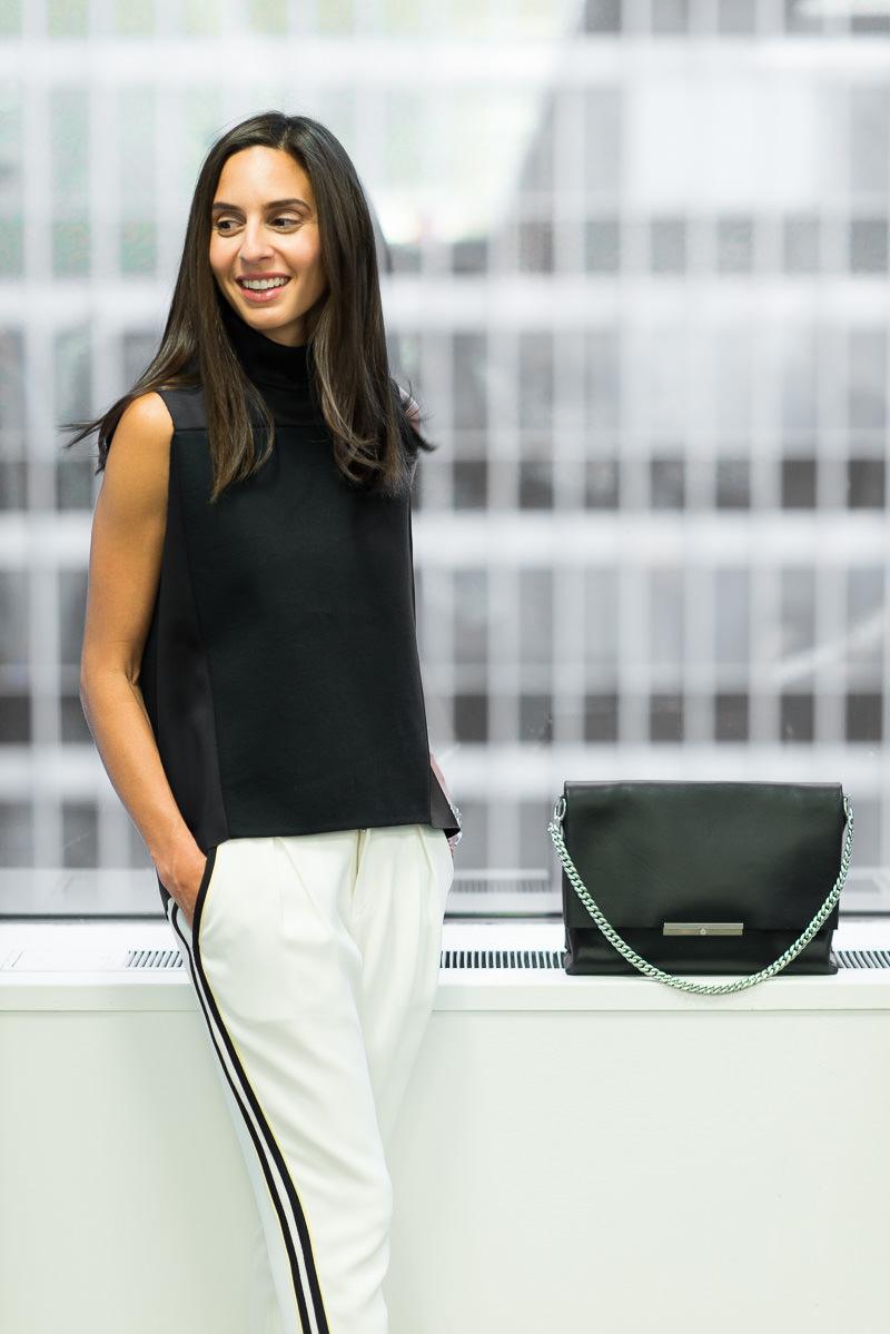 Céline Blade Chain Strap Shoulder Bag $2,795 via Bluefly, 3.1 Phillip Lim Top Similar via Net-a-Porter, Rag & Bone Pants Similar via Barneys