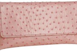 Jalda Pink Ostrich Leather Brief Clutch