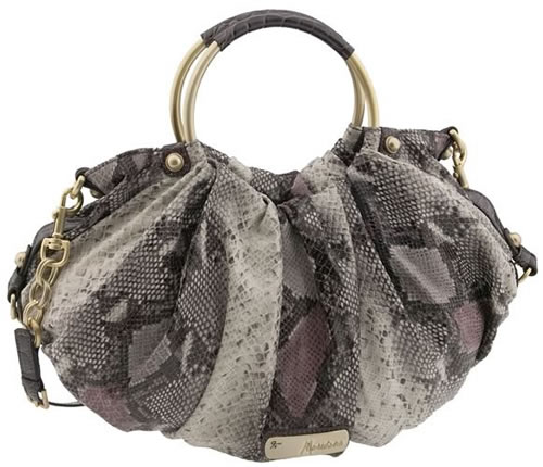 Marciano Faux Snakeskin Suede and Croc Trim Handled Tote