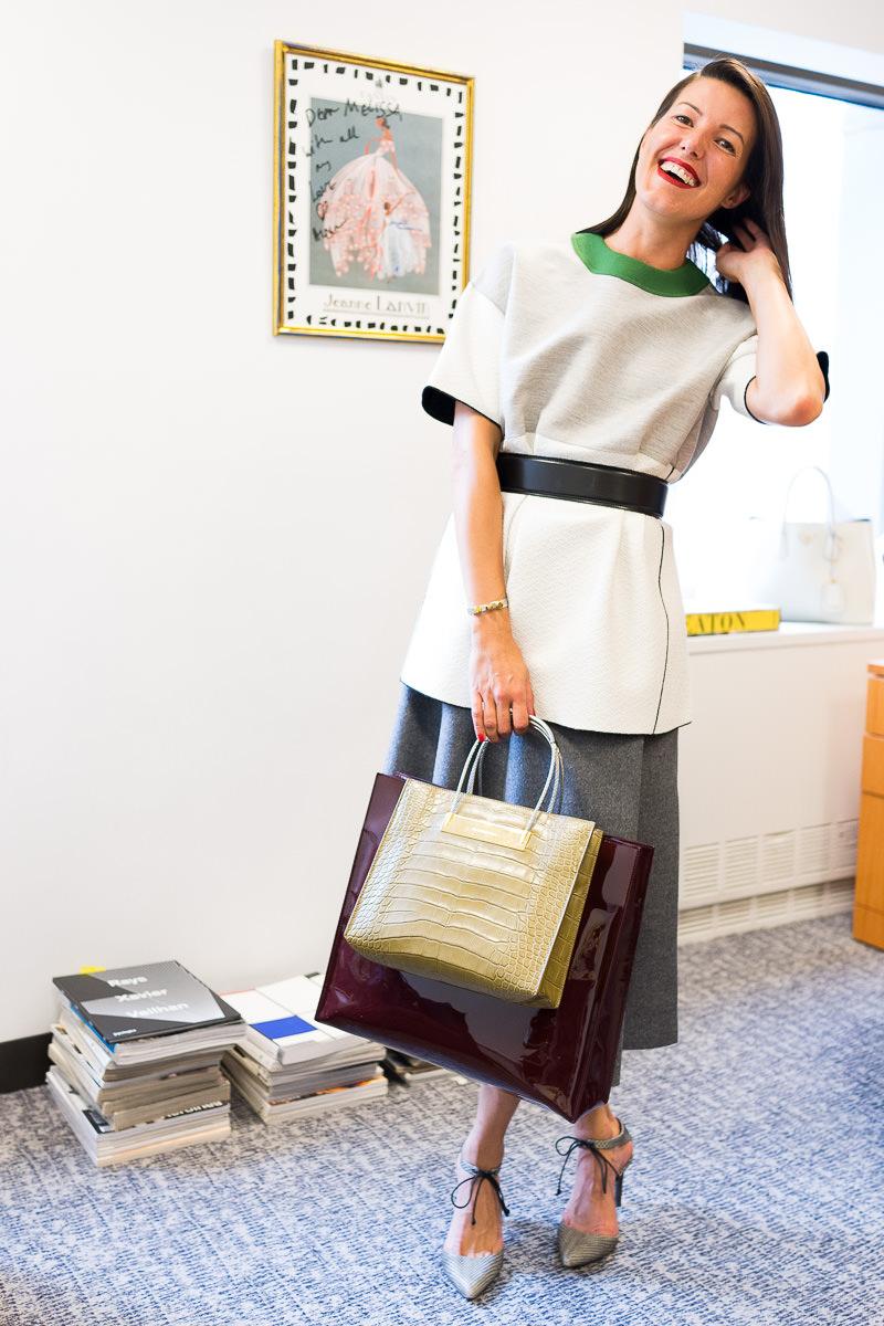 Balenciaga Shopper Tote Similar via Barneys, Derek Lam Shirt Similar via Barneys, Hugo Boss Skirt and Belt Similar via Nordstrom, Reed Krakoff Shoes Similar via Neimans