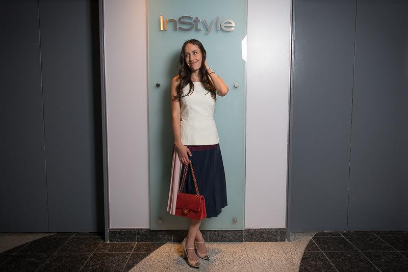 Chanel Flap Bag, Tibi Top Similar via Shopbop, DKNY Skirt Similar via Neimans, Stuart Weitzman Shoes Similar via Bloomingdales