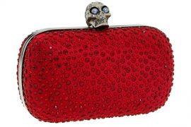 Alexander McQueen Red Skull Box Clutch