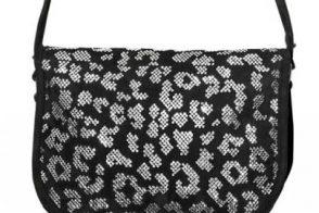 Balmain Crystal Leopard Suede Bag
