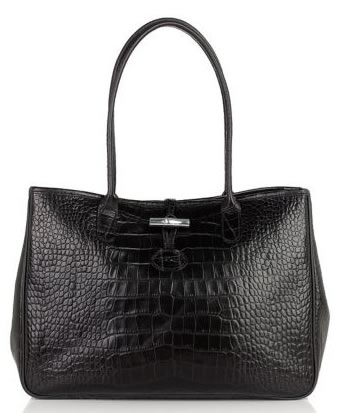 Longchamp Roseau Crocodile Embossed Leather Tote