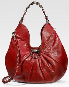 Salvatore Ferragamo Gathered Leather Hobo