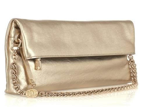 DKNY Fold-Over Metallic Clutch