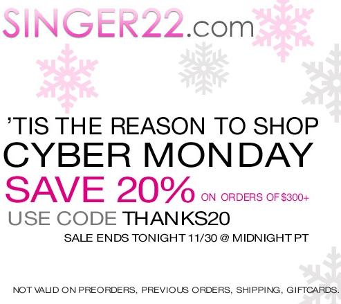 Singer 22 Cyber Monday