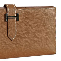 Hermes Tobacco Leather bi-fold Kelly Continental Wallet - $1453