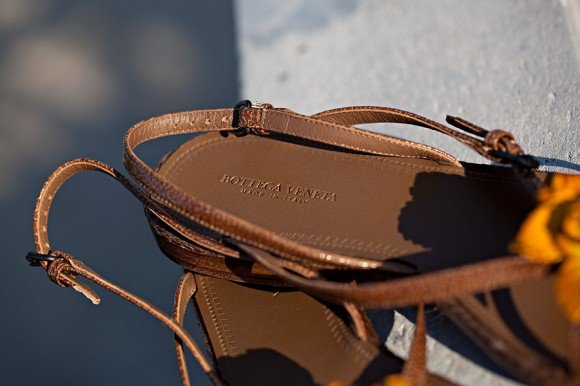 Bottega Veneta Cigar Vernice Sandals