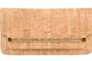 Kara Ross Mia Lizard-Trimmed Cork Clutch