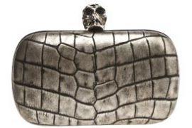 Alexander McQueen Croc-Print Skull Clutch