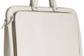 Prada Ivory Saffiano Bi-Fold Zip Briefcase