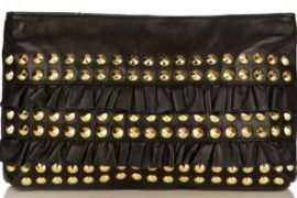 Betsey Johnson We're Just Frilled Studded and Ruffled Leather Clutch