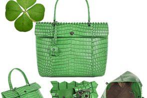 Green for St. Patrick's Day: Bottega Veneta Cocolave Crocodile Tote