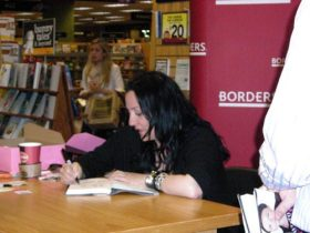 Kelly Cutrone signing her book at an event in Atlanta, GA.