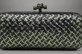 Bottega Veneta mixes green paper and purple snakeskin and somehow, it works