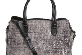 Diane Von Furstenberg makes leather look like tweed-patterned concrete