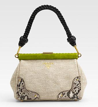 Prada Bags 2011 Collection. Prada Paglia Twist Straw Shoulder Bag, $1950 via Saks. Prada Lino Twist Frame Shoulder Bag, $1895 via Saks.