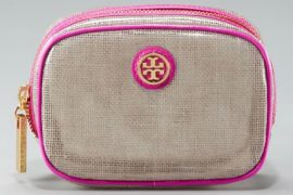The Tory Burch Logo Cosmetic Case is a great bag stuffer