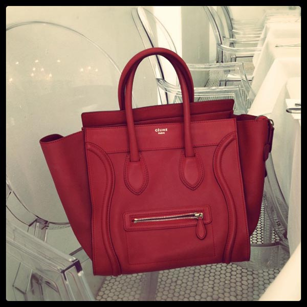 celine mini luggage tote red