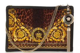 Versace pulls from its brand heritage for an ornately printed clutch