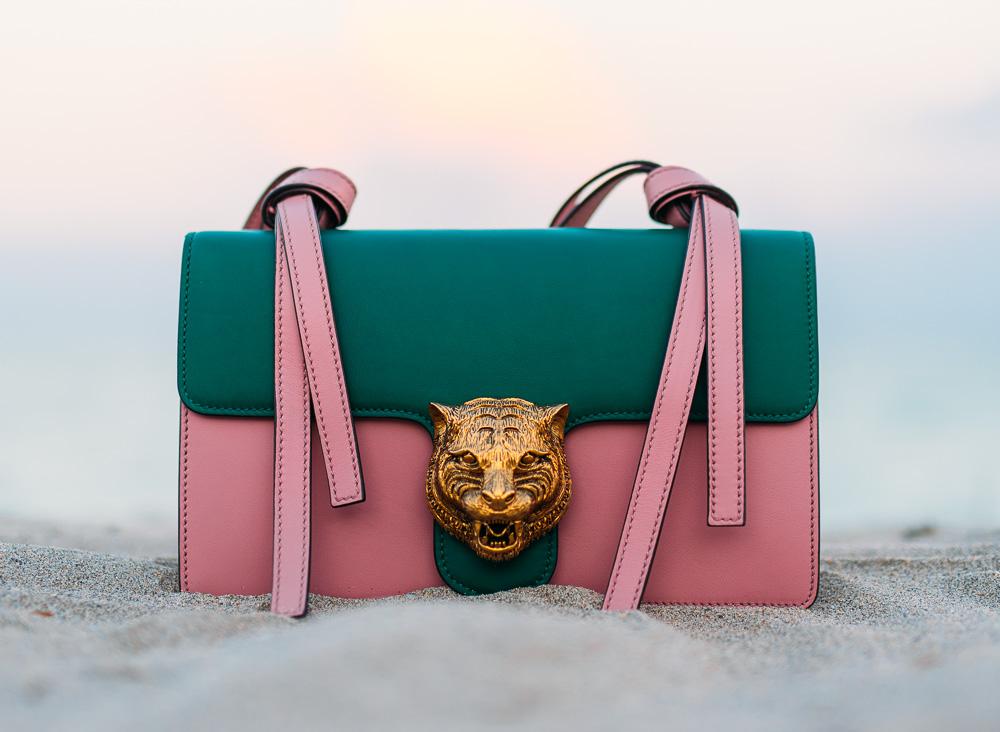 Gucci Animalier Shoulder Bag in Emerald Green/Pink
