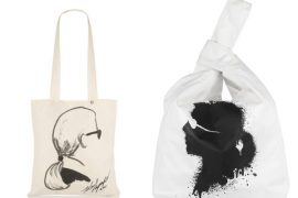 Karl Lagerfeld's eponymous line debuts at Net-a-Porter featuring portrait tote bags, Karl interviewing himself
