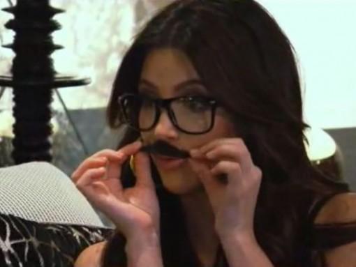 Kim Kardashian with mustache