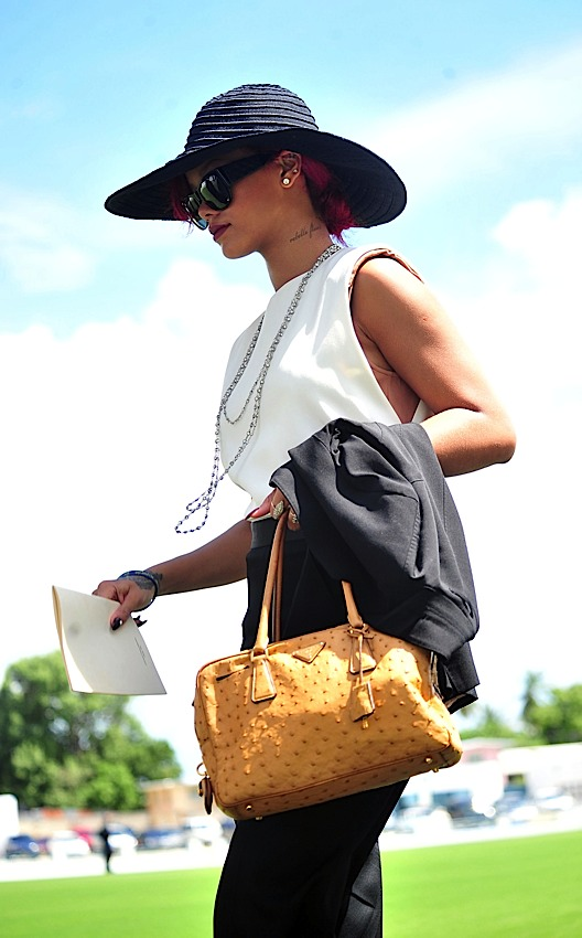 prada satchel bag - The Many Bags of Rihanna - PurseBlog