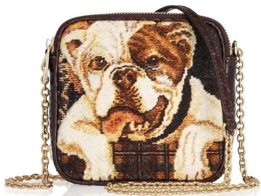 Dolce & Gabbana Bulldog Tapestry and Python Bag