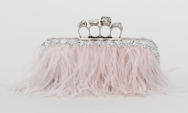 Alexander McQueen Knuckle Duster Ostrich Feather Clutch