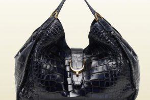 The new must-have Gucci Soft Stirrup bag in blue crocodile