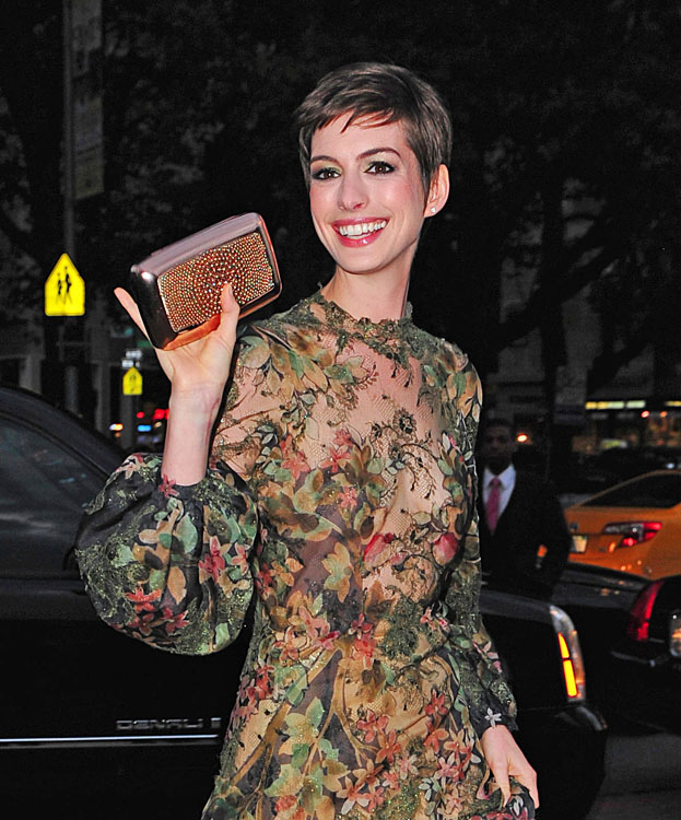 Hathaway anne carries gorgeous roger vivier clutch images