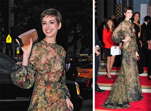 Anne Hathaway carries Roger Vivier